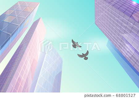 Skyscraper building in city space in flat style concept bottom view and birds doves in the sky 68801527