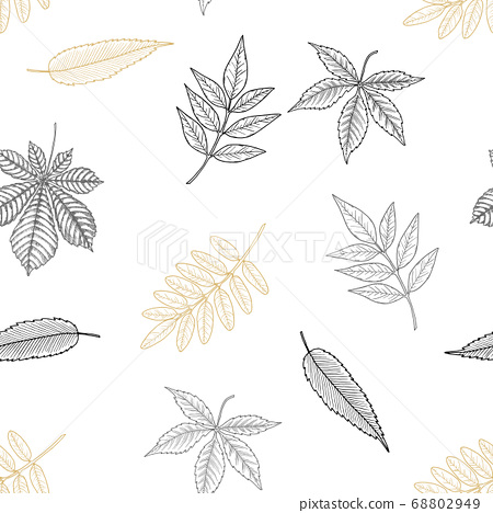 Seamless Autumn pattern. Wallpaper, background beautiful, cute, trendy bright print 68802949