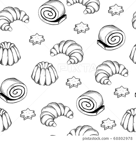 Hand drawn seamless pattern of bread and bakery products. 68802978