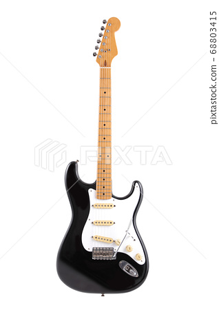 Vintage black and white electric guitar isolated 68803415