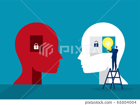 businessman holding light bulb for put think growth mindset different fixed mindset concept vector 68804004