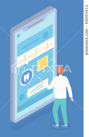 Isometric illustration of dentist consultation. Providing remote doctoral services. Vector image 68804812