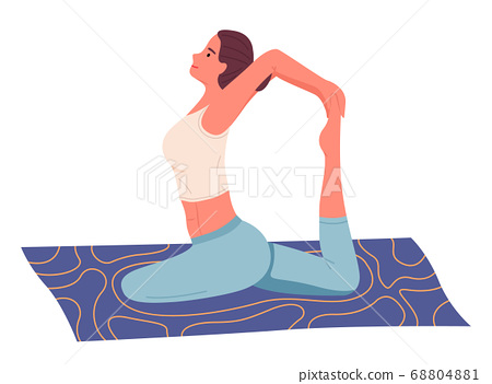 Cartoon vector character isolated at white background, woman making yoga, stretching exercises 68804881