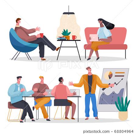 Office workers. Co-workers. Colleagues discuss project teamwork. Office staff work and communication 68804964