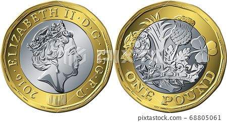 British coin one pound new 12-sided design 68805061
