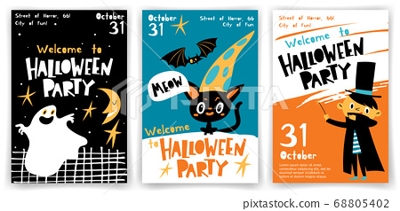 Set of vector Welcome to Halloween party posters in cartoon flat style 68805402