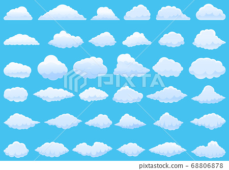 Cloud icons set, cartoon style 68806878