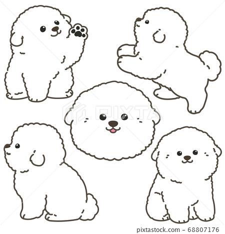 比熊弗里茲小狗設置與主線的各種姿勢 68807176