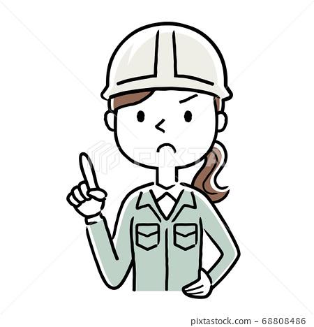 圖庫插圖:穿著工作服的年輕女子警報引起注意 68808486