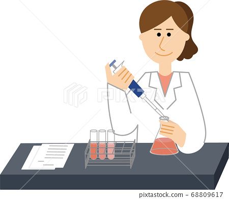 研發中的白大褂女研究員 68809617