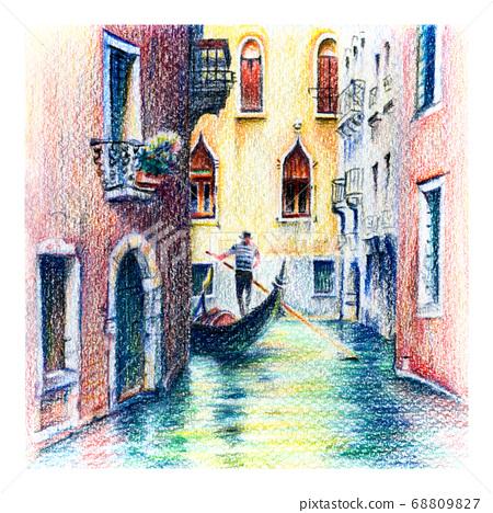 Gondolas on lateral narrow Canal in Venice, Italy 68809827