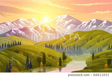 Scenic mountain landscape, green hills, river, forest. Rocks and wood. Orange sunset. Flat image 68811031