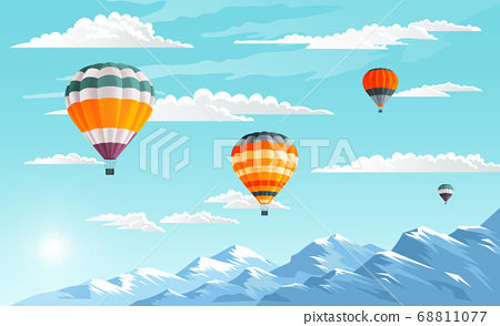 Balloons festival in mountains. Colorful airships or aerostats floating in the clear blue sky 68811077