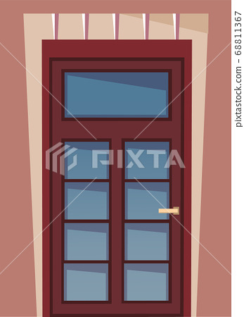 The illustration with an wooden front door and part of wall, house exterior building s facade 68811367