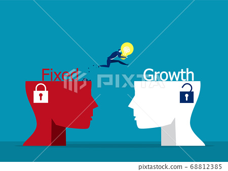 businessman holding light bulb jumping to growth mindset head different fixed mindset concept vector 68812385