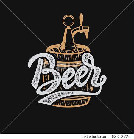Hand drawn beer emblem. Beer barrel. Design 68812720