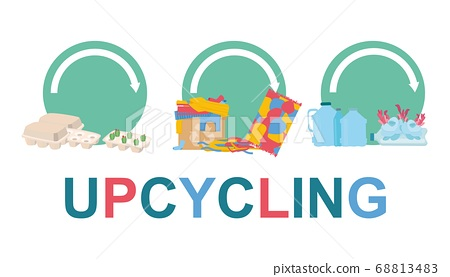Waste reuse. Vector illustration with various materials for upcycling on white background, panorama 68813483
