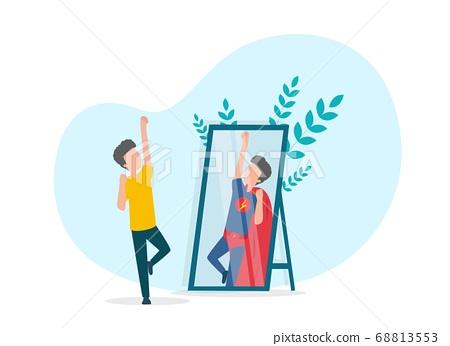 Boy Seeing Himself As Super Hero In Mirror, White Background 68813553