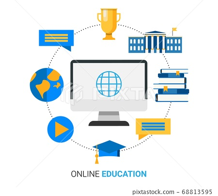 Online Education Illustration With Computer And Internet Icons, White Background 68813595