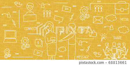 People Using Social Media And Browsing Internet, Yellow Background, Vector 68813661