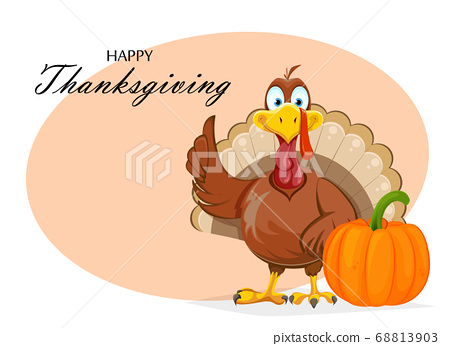 Happy Thanksgiving Day Funny Turkey Bird Stock Illustration 68813903 Pixta