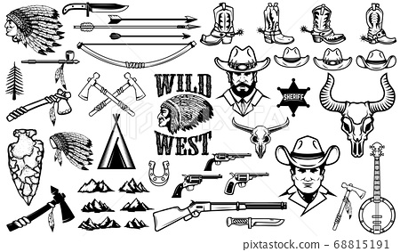 Big set of wild west icons.Cowboys, indians, 68815191