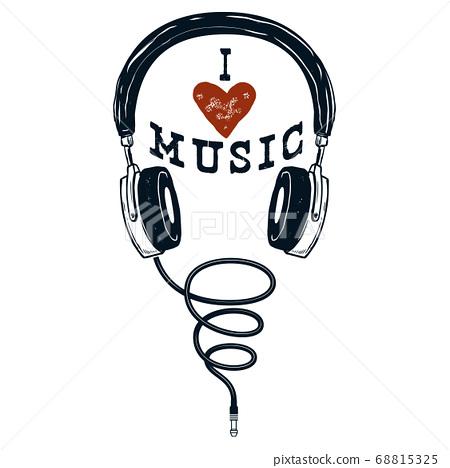 I love music. Hand drawn headphones. Design 68815325