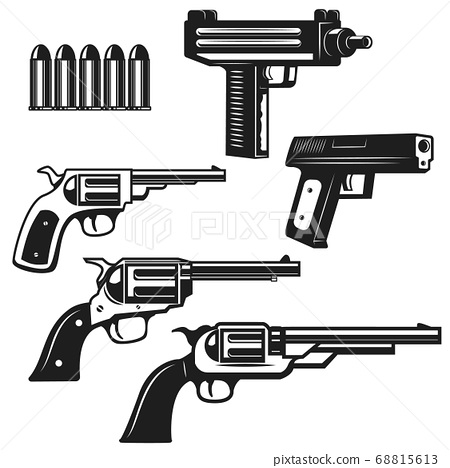 Set of handguns and revolvers isolated on white 68815613