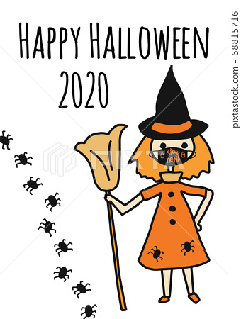Happy Halloween 2020 greeting card template. Witch wearing a face mask and spiders. Stay home 68815716