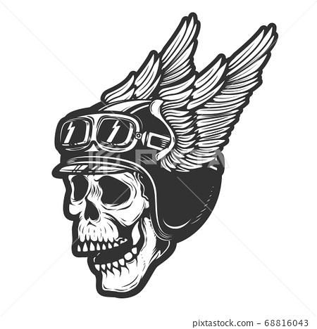 racer skull in winged helmet isolated on white 68816043