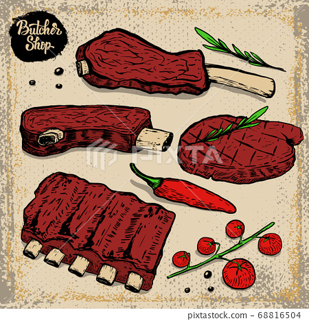set of beef ribs. Grilled steak with cherry 68816504