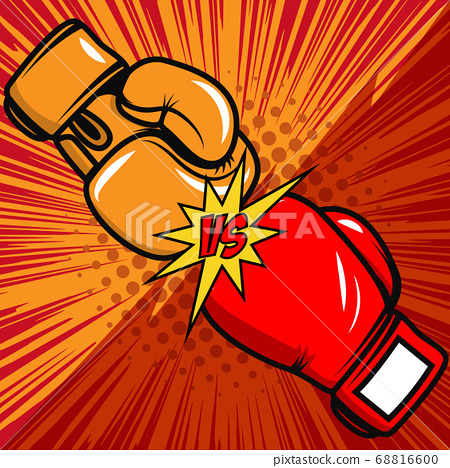 Versus boxing gloves on pop art style background. 68816600