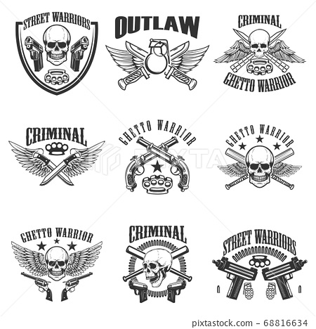 Set of outlaw, criminal, street warrior emblems. 68816634