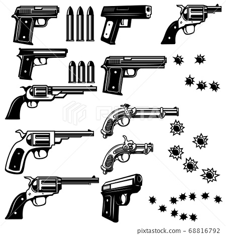 Handguns illustration isolated on white 68816792