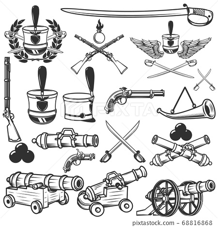 Old weapons, muskets, sabers, cannons, cores, 68816868