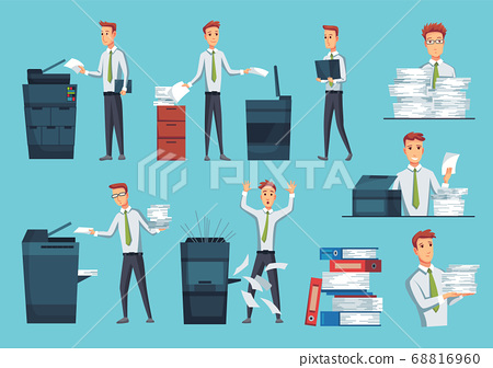 Collection of office documents copiers. Office workers prints documents on the copier. Mans works on a photocopier. Concept of office work 68816960
