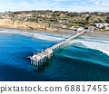 Aerial view of the scripps pier institute of oceanography, La Jolla, San Diego, California, USA. 68817455