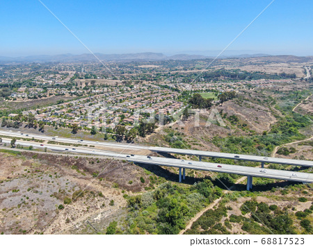 Aerial view of highway, freeway road with vehicle in movement in San Diego 68817523