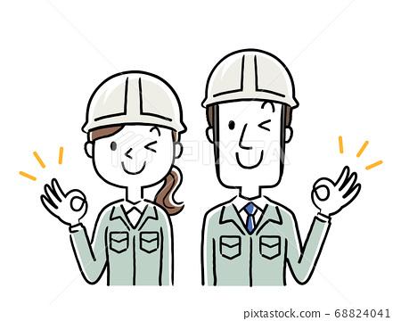 图库插图:穿着工作服的年轻人,好迹象 68824041