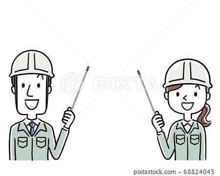 圖庫插圖:穿著工作服的年輕人男女解釋指點桿 68824045