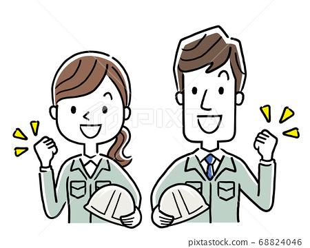 圖庫插圖:年輕男子和婦女穿著工作服,有動力 68824046