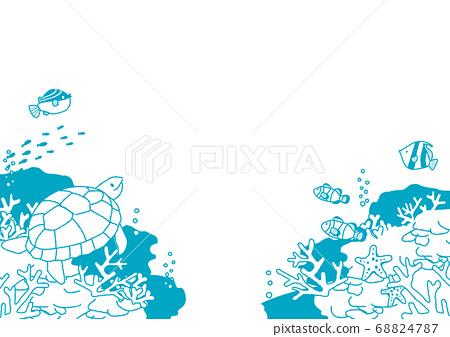 해저 물고기들의 일러스트 배경 일러스트 68824787