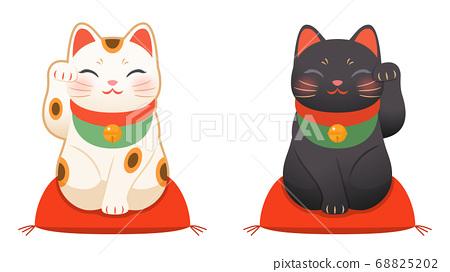 招財貓套在黑色和白色 68825202