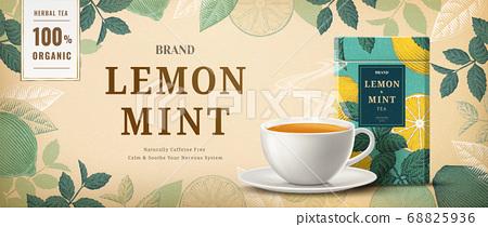 Engraving lemon mint tea banner ads 68825936