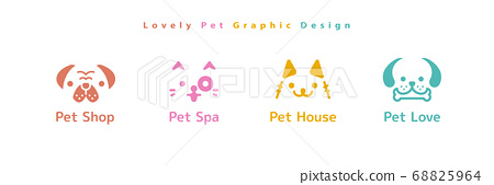 Set of dog and cat head icon 68825964