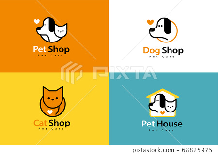 Lovely line style pet logo set 68825975