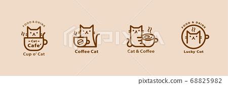 Lovely cat cafe line style logo set 68825982