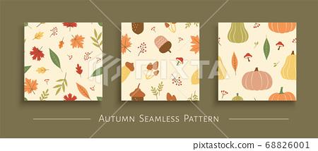 Autumn harvest seamless pattern set 68826001