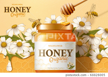 Wild flower honey ad template 68826005