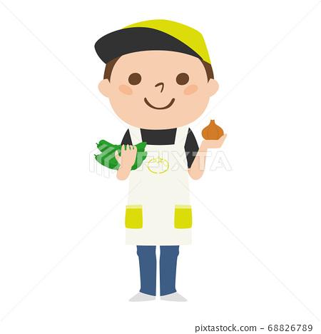 拿著黃瓜和蔥的一位男性蔬菜水果商的例證。 68826789